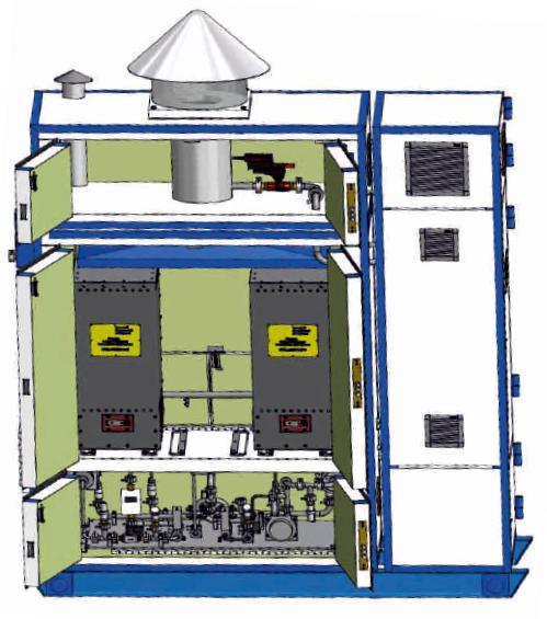 Образец энергоустановки на основе ТОТЭ мощностью 250 Вт