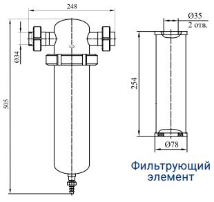 Фильтры для очистки газов от механических примесей с номинальным расходом 800