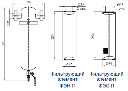 Фильтры для очистки пара от механических примесей с номинальным расходом пара 250