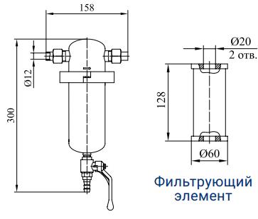 Фильтры предварительной, основной и тонкой очистки с номинальным расходом 60