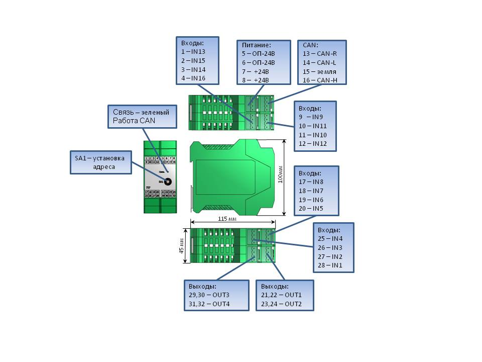 Схема разъемов модуля 727