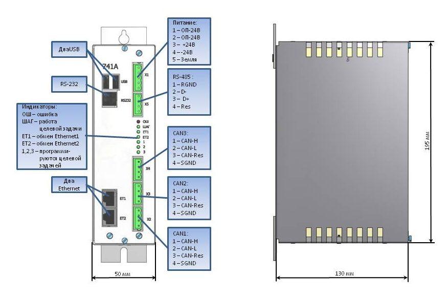 Схема разъемов модуля 741