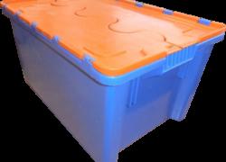 Ящик 600х400х300 сплошной синий с оранжевой крышкой